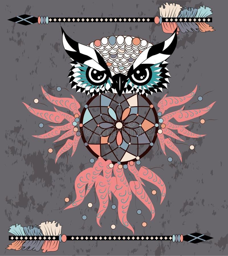 Gufo di sogno decorativo indiano del collettore nello stile grafico Illustrazione royalty illustrazione gratis