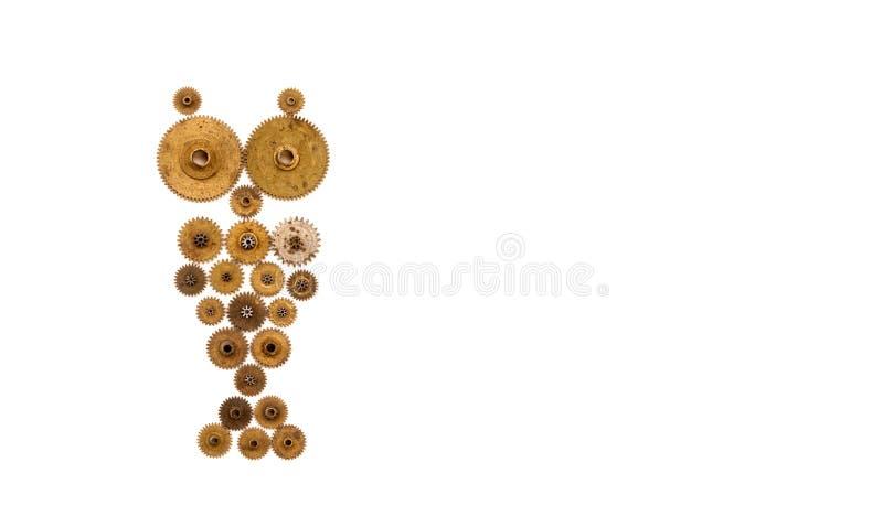 Gufo di Steampunk su fondo bianco Vista meccanica di macro dell'oggetto di stile dell'ornamento Ruote dentate d'annata del movime immagini stock