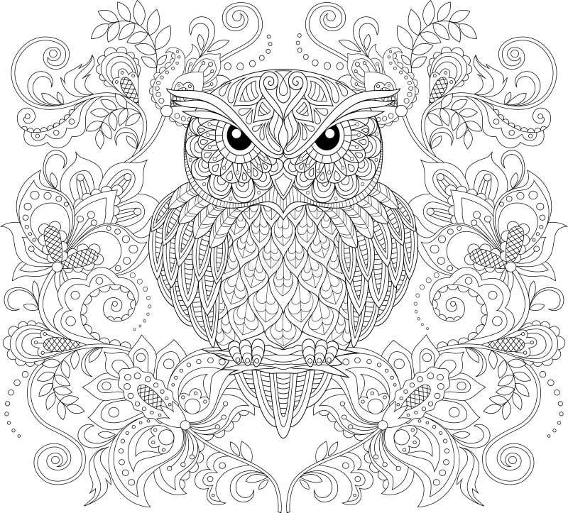 Gufo ed ornamento floreale Pagina antistress adulta di coloritura royalty illustrazione gratis