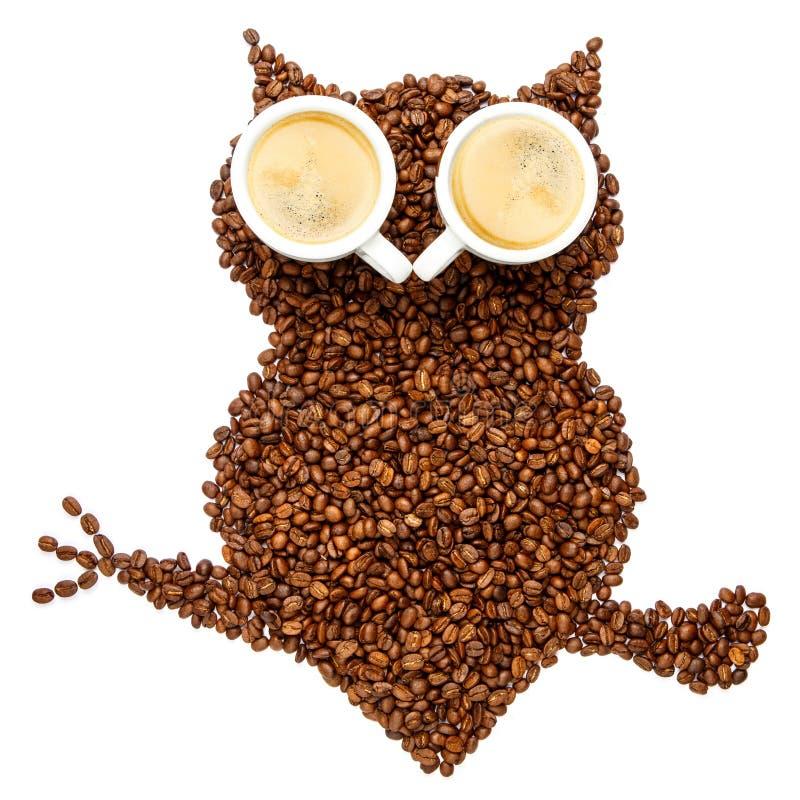 Gufo fatto dei chicchi di caffè arrostiti isolati su fondo bianco fotografia stock