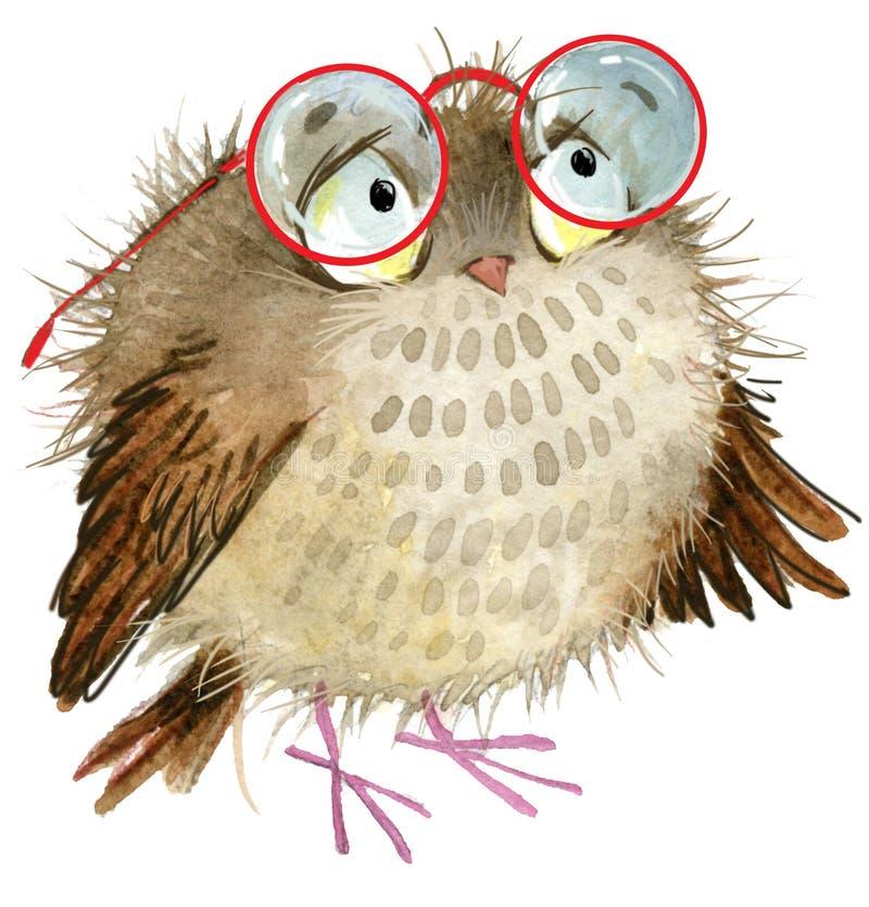 Gufo Gufo sveglio Uccello del fumetto illustrazione vettoriale
