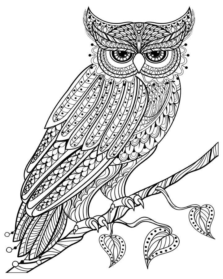 Gufo magico disegnato a mano che si siede sul ramo per l'anti passo adulto di sforzo illustrazione vettoriale