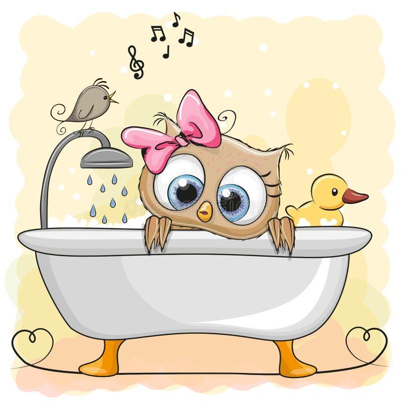 Gufo nel bagno illustrazione di stock