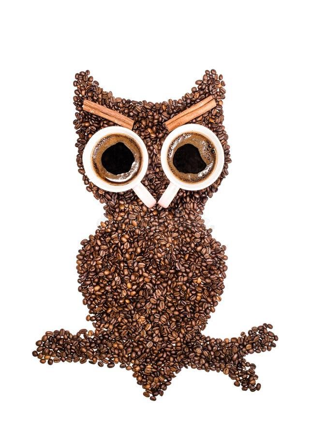 Gufo positivo, fatto dei chicchi di caffè e di due occhi delle tazze con le sopracciglia della cannella isolate su fondo bianco fotografie stock libere da diritti