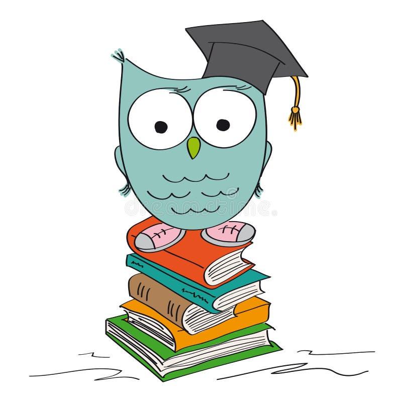 Gufo saggio divertente che sta sul mucchio dei libri, cappuccio di graduazione sulla testa illustrazione di stock
