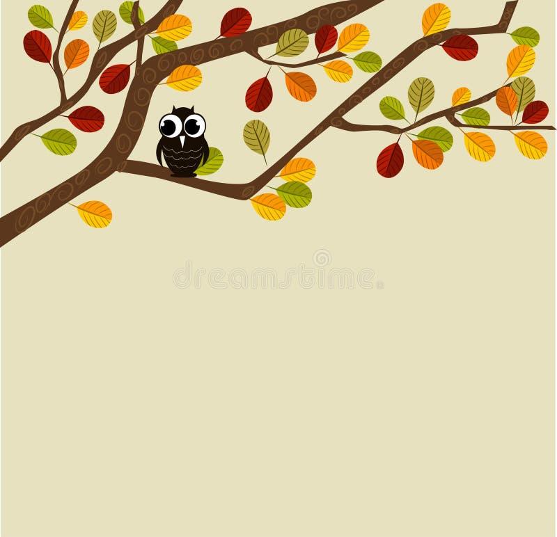 Gufo su una filiale di autunno illustrazione vettoriale