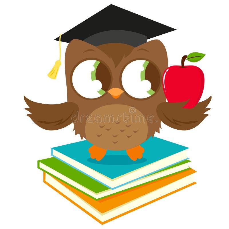 Gufo sui libri con la mela della tenuta del cappello di graduazione royalty illustrazione gratis