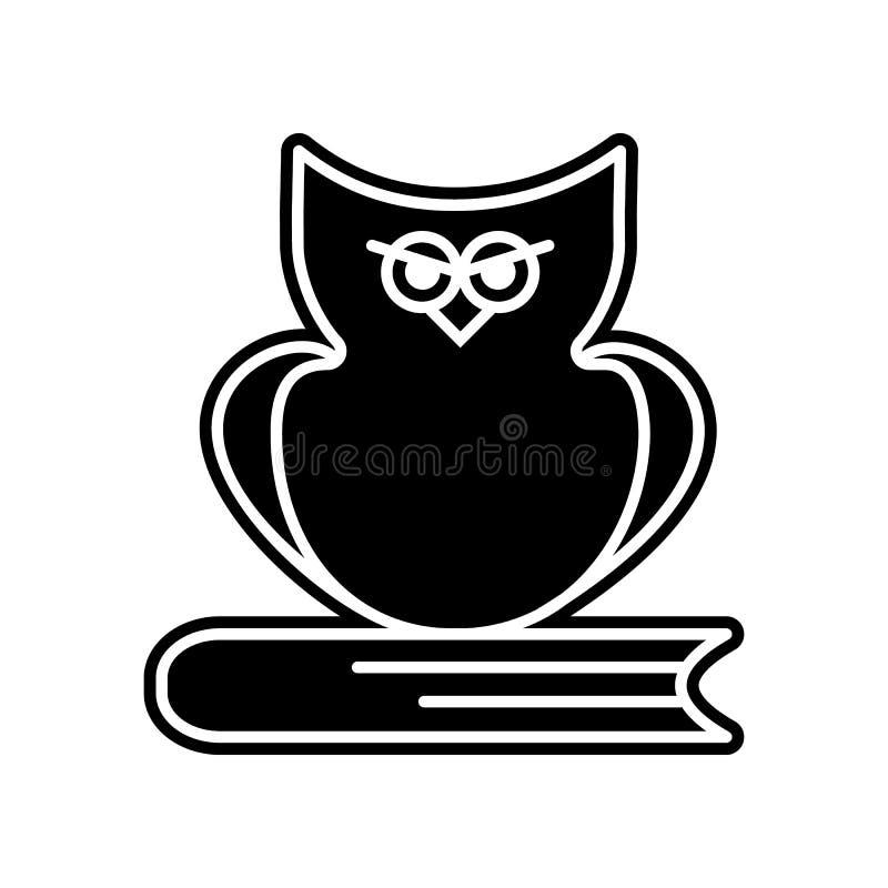 gufo sull'icona del libro Elemento di istruzione per il concetto e l'icona mobili dei apps di web Glifo, icona piana per progetta illustrazione di stock