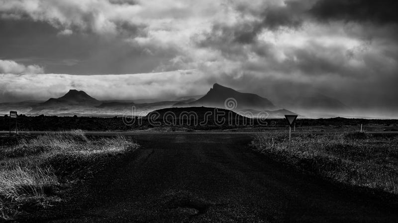 Gufuskalavor. Great weather over Snaefellsnes, rain, clouds and sunshine. Perfect for photography stock photography