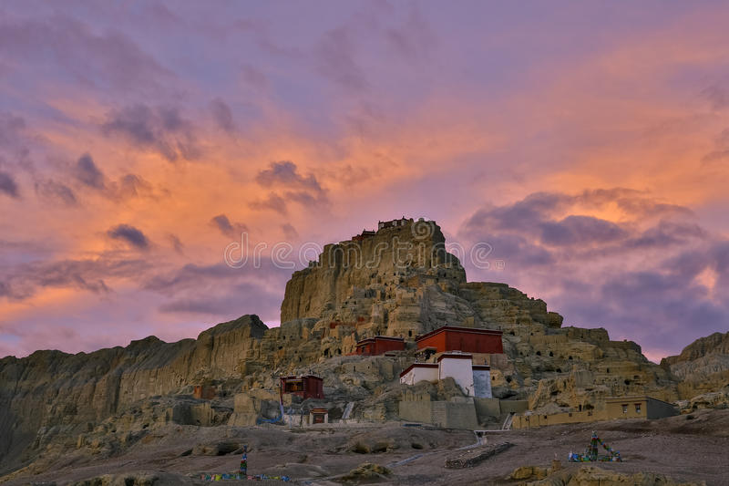 Guge Dynast. The site is located in the Alizhadaxian Guge Dynasty toling town like river south, 19 kilometers from the county seat. Tibet, China stock image