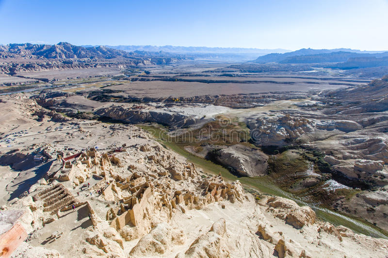 Guge ruins in soils forest. In Tibet royalty free stock image