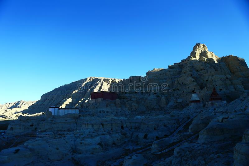 Landscape of Guge. Guge was an ancient kingdom in Western Tibet. The kingdom was centered in present-day Zanda County, Ngari Prefecture, Tibet Autonomous Region royalty free stock photos