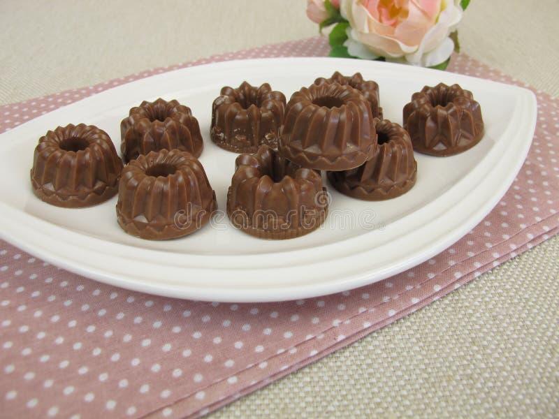 Gugelhupf chocolate. Homemade gugelhupf chocolate on plate stock photo