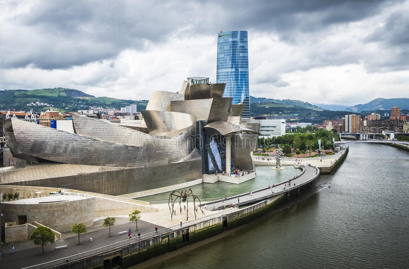 Guggenheim Museum by the architect Frank Gehry in Bilbao. Bilbao, Spain - July 25, 2016: Guggenheim Museum by the architect Frank Gehry stock photography