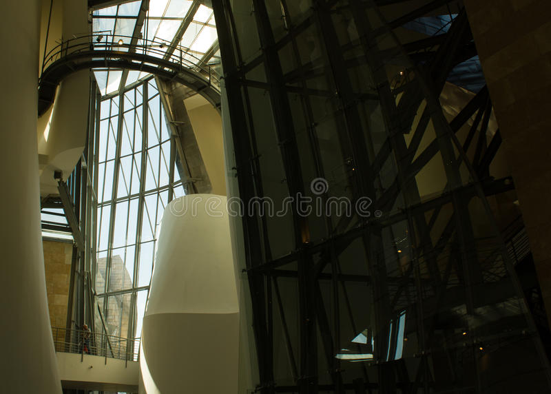 Guggenheim Museum, Bilbao, Basc Country, Spain, inside view. Inside view of the Guggenheim Museum building in Bilbao, Basc Country, Spain, showing the modernist royalty free stock images