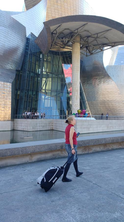 The Guggenheim museum Bilbao. Is not only one of the most important pieces of modern Architektur in Spain but also the most confusing royalty free stock image
