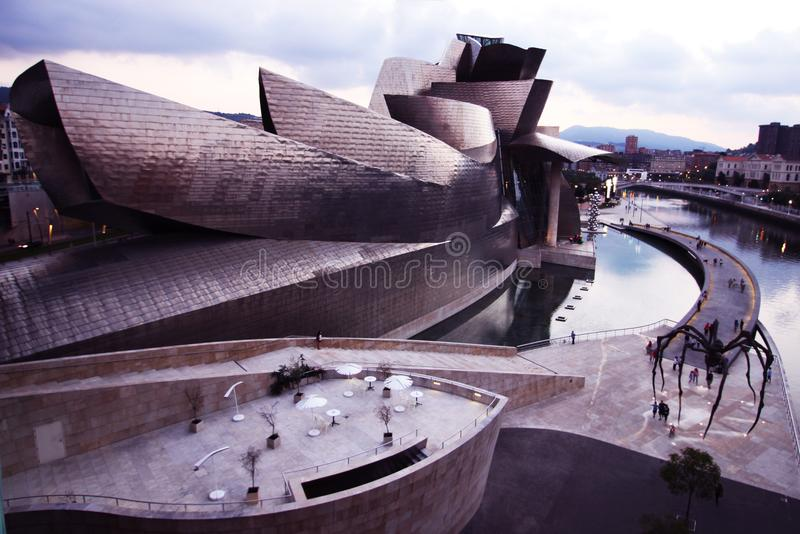 Guggenheim Museum Bilbao Spain Spider Bridge Building Daytime. The Guggenheim Museum in Bilbao Spain has one of the most interesting buildings in the world stock photo