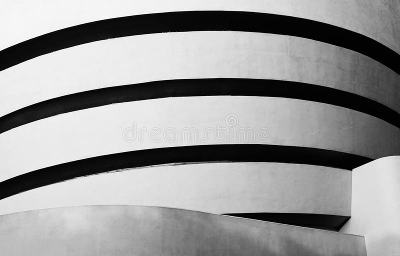 Guggenheim Museum, New York City. High contrast black and white photograph of Solomon R. Guggenheim Museum on the Upper East Side of Manhattan, New York City royalty free stock photos