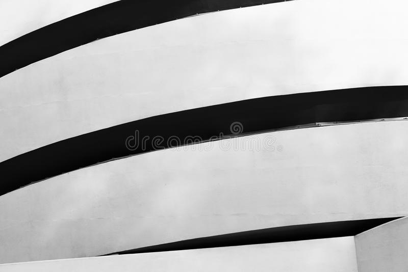 Guggenheim Museum, New York City. High contrast black and white photograph of Solomon R. Guggenheim Museum on the Upper East Side of Manhattan, New York City royalty free stock photography