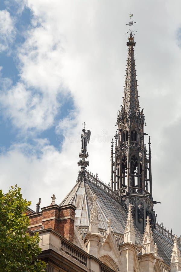 Guglia di La Sainte-Chapelle Cappella gotica fotografia stock libera da diritti