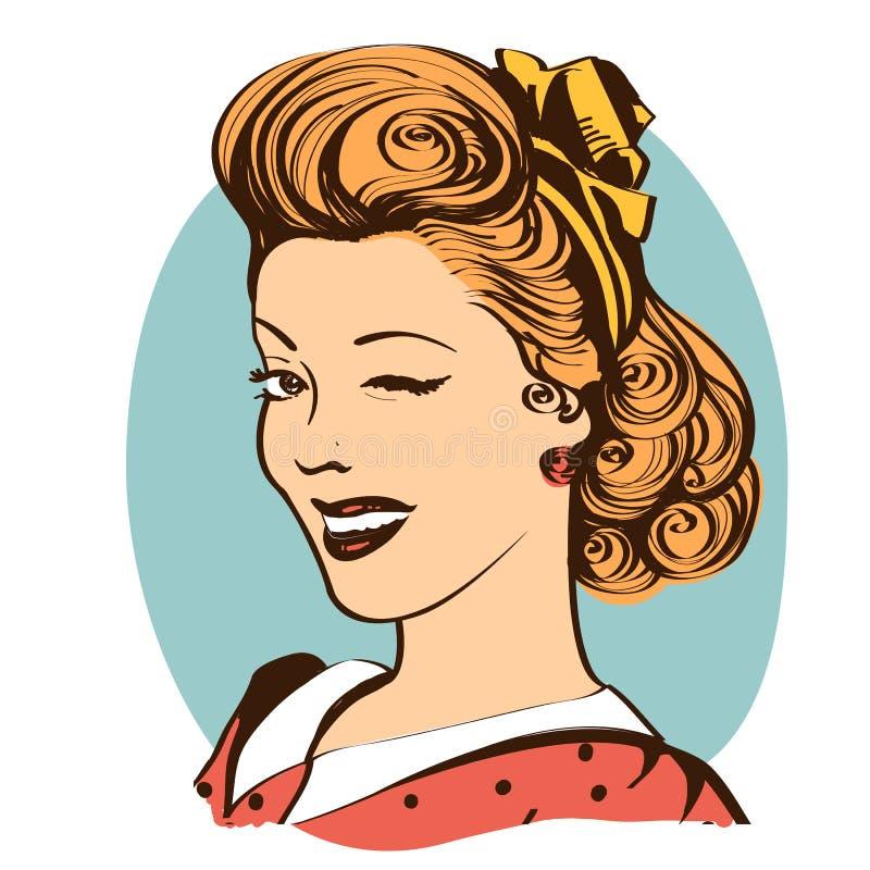 Guiñando a la mujer joven en la ropa retra aislada en blanco libre illustration