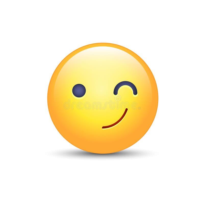 Guiño de la cara del emoji de la historieta de la diversión Emoticon feliz del vector del guiño y de la sonrisa stock de ilustración