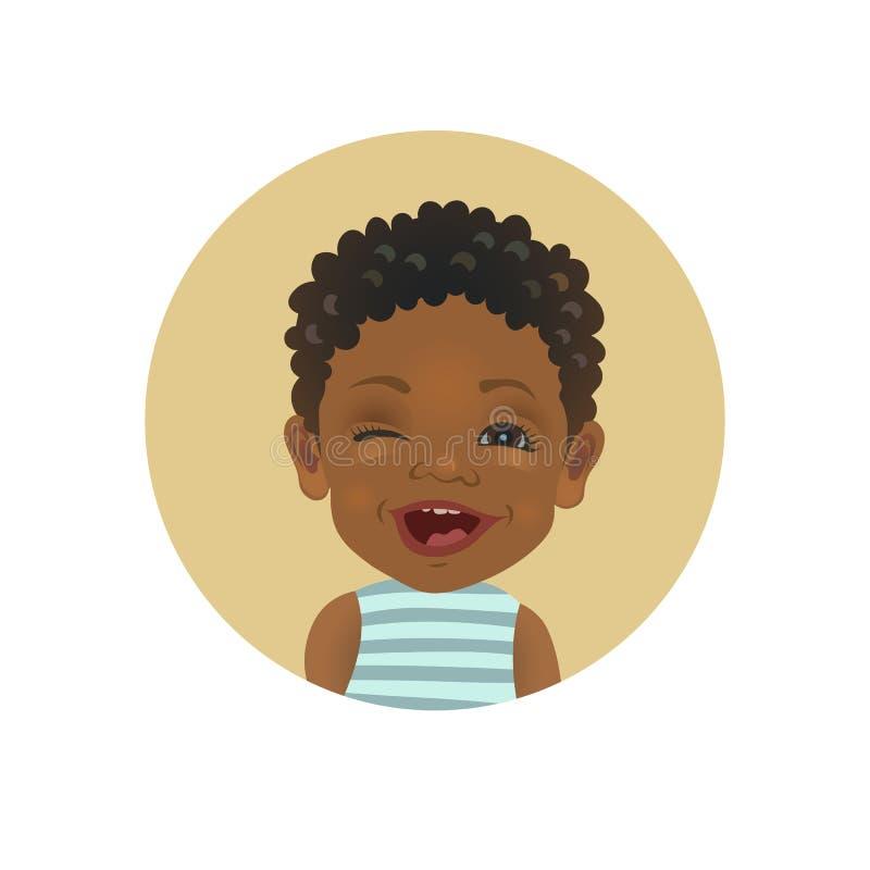 Guiño del niño afroamericano Emoticon africano juguetón del niño Expresión facial del bebé de piel morena lindo stock de ilustración