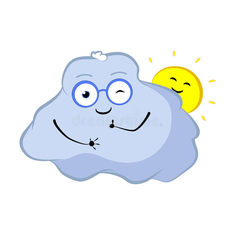 Guiño del personaje de dibujos animados de la nube La nube y el sol preciosos sonríen con los pulgares para arriba ilustración del vector