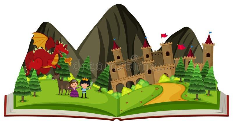 Guión con el dragón en el castillo stock de ilustración