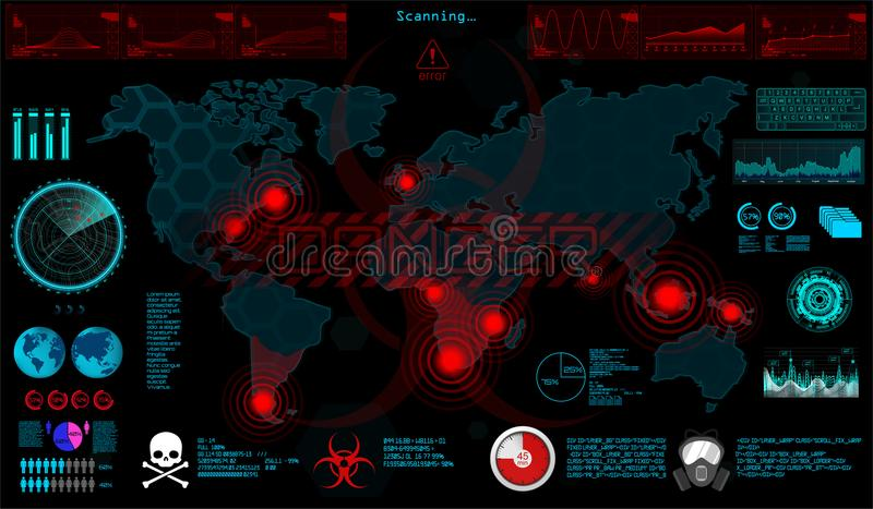 gui Παγκόσμιος ιός στο ύφος HUD διανυσματική απεικόνιση