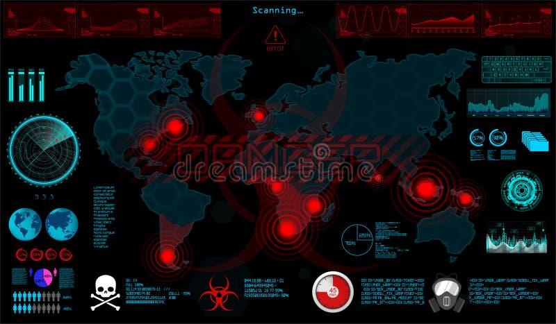 gui 在HUD样式的世界病毒 向量例证