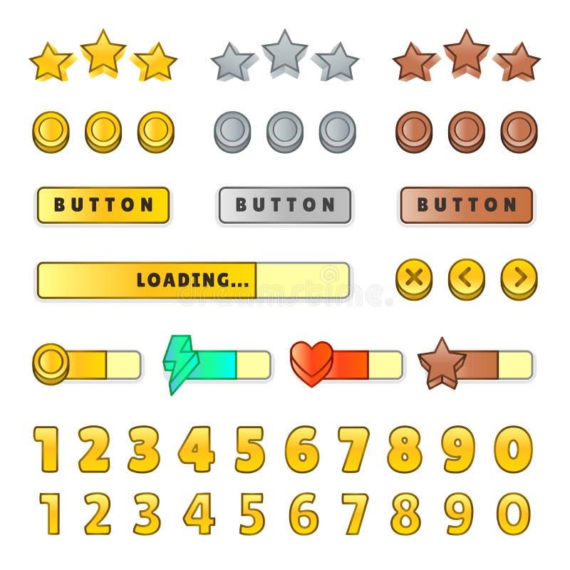 GUI d'interface utilisateur graphique de jeu Conception, boutons et icônes Illustration de kit d'ui de jeu d'isolement sur le fon illustration libre de droits