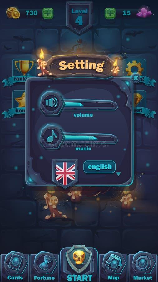 GUI da batalha do monstro que ajusta a janela do volume ilustração stock
