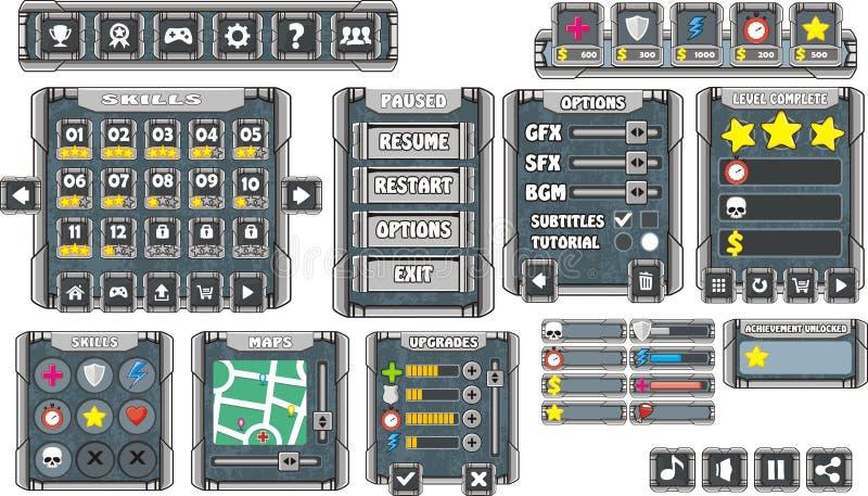 GUI 9 de jeu illustration stock
