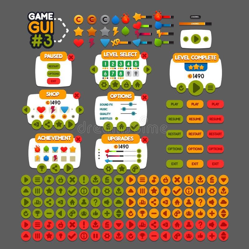 GUI #3 de jeu illustration stock