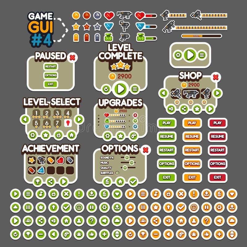 GUI 4 de jeu illustration stock