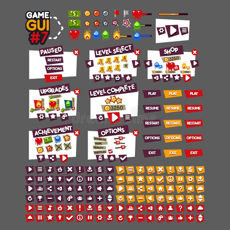 GUI #7 de jeu illustration de vecteur