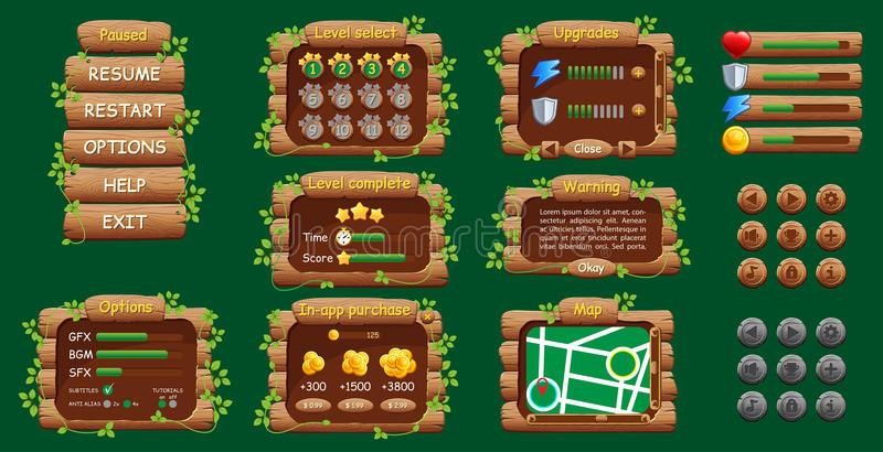 GUI der grafischen Benutzeroberfläche für bewegliches Spiel oder APP Design, Knöpfe und Ikonen lizenzfreie abbildung