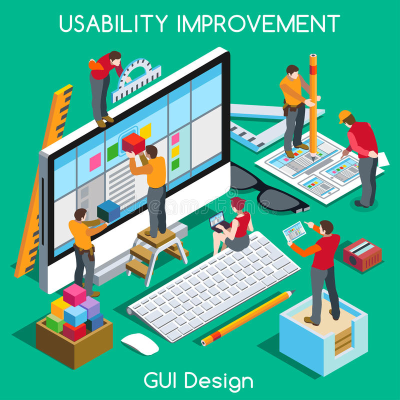 GUI design People Isometric stock illustration
