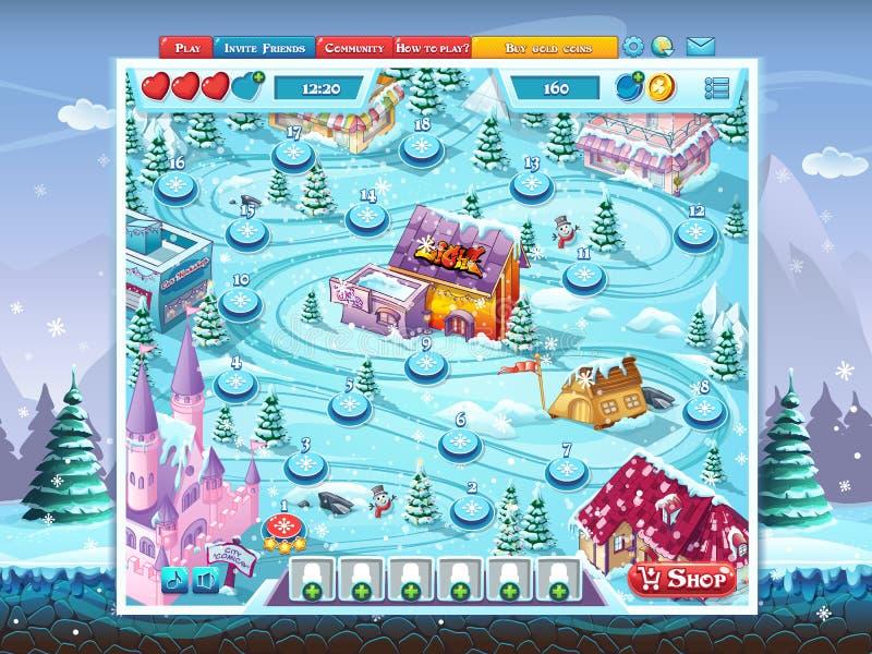 GUI do Feliz Natal - fundo da janela do campo de ação do mapa ilustração royalty free
