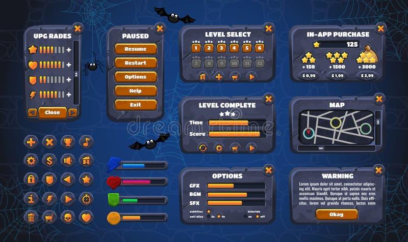 GUI mobile d'interface utilisateur graphique de jeu Conception, boutons et icônes Illustration de vecteur illustration de vecteur