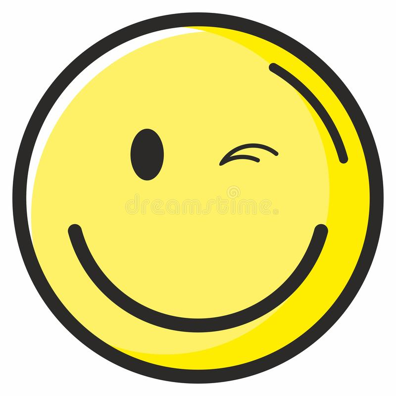 Gui?o de smiley. Cartel del Día Mundial de la Sonrisa, 4 de octubre. Un emoticón circular alegre y agradable con una sonrisa lla stock de ilustración