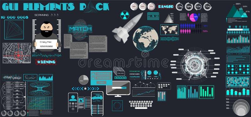 GUI Ustawiający dla gemowego interfejsu użytkownika Płaska kreskówka HUD ilustracji
