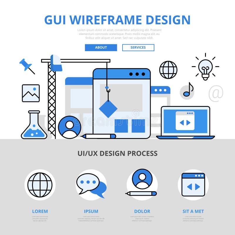 GUI wireframe设计infographics平的线艺术传染媒介象 皇族释放例证