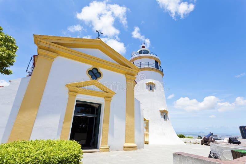 Guia堡垒灯塔在日的澳门 库存图片
