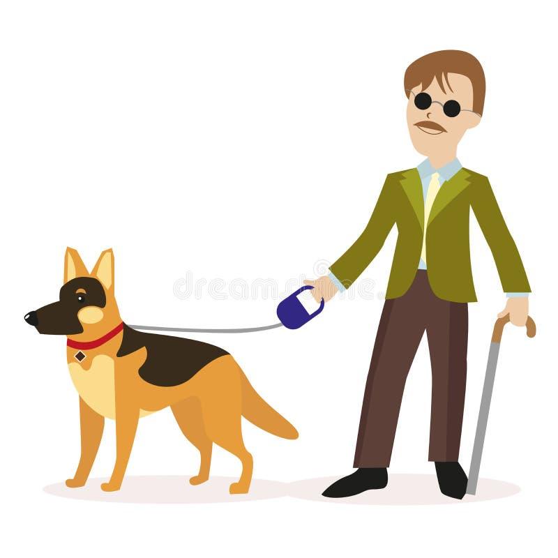 Guia-cão Homem cego com cão de guia Conceito da pessoa cega da inabilidade Caráter liso isolado no fundo branco ilustração stock