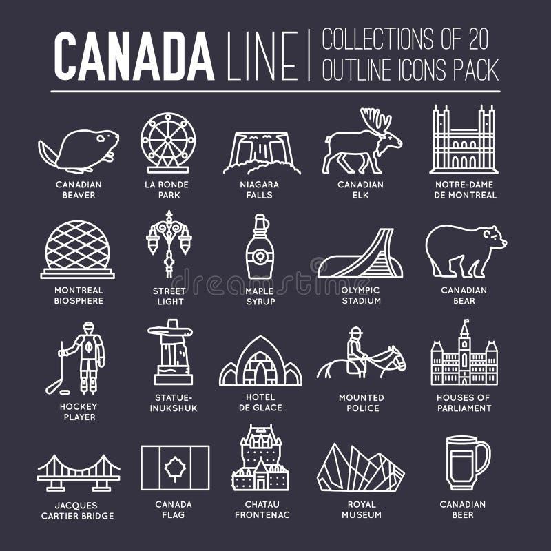 Guia das férias do curso de Canadá do país dos bens, do lugar e da característica Ajuste da arquitetura, forma, pessoa, artigo, f ilustração do vetor