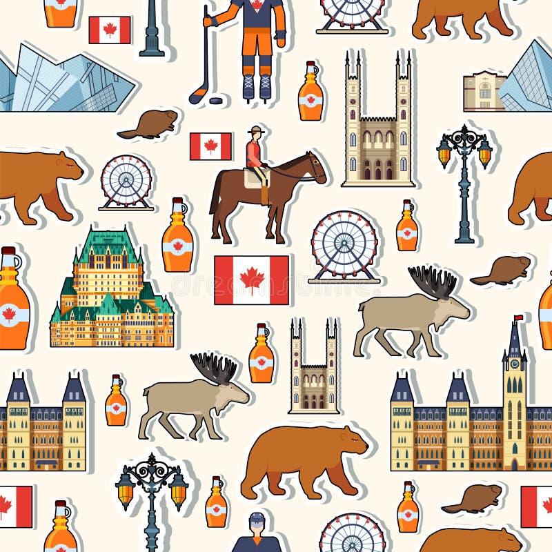 Guia das férias do curso de Canadá do país dos bens, dos lugares e das características Patern sem emenda da arquitetura, forma, p ilustração stock