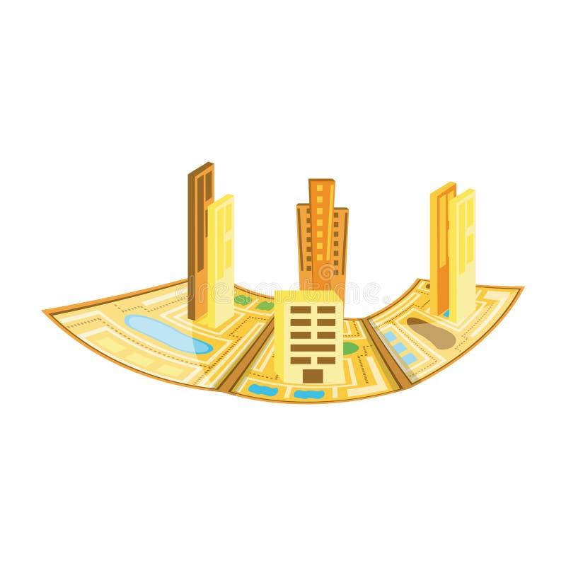 Guia de papel do mapa com arquitetura da cidade ilustração stock