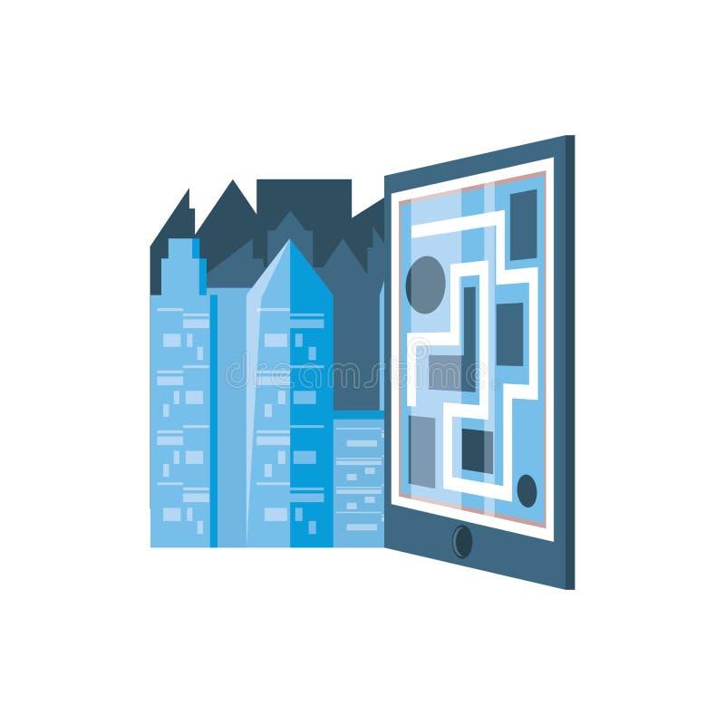 Guia de papel do mapa com arquitetura da cidade ilustração royalty free